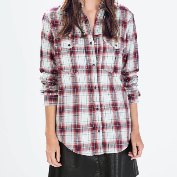 24 off zara tops zara basic plaid checked button shirt medium from poshmark ambassador. Black Bedroom Furniture Sets. Home Design Ideas