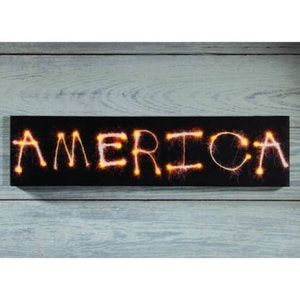 Lighted America Sign Sparkler Canvas New