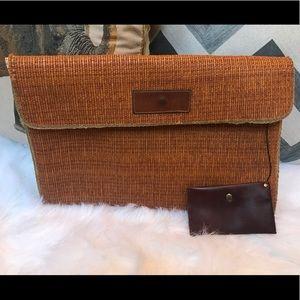 Handbags - Vintage rattan/leather clutch w/ leather wallet