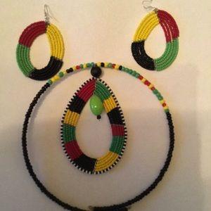 Kenyan Beaded pierced earrings and choker set