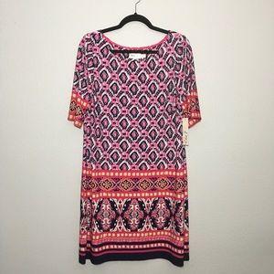 Eliza J. Geo Print Boatneck Dress Size 16