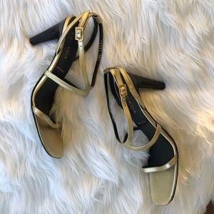 [Escada] Gold Strap Heel - Size 38.5