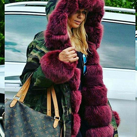 b6d0c5b349608 Jackets & Coats | Camouflage Red Wine Faux Fur Coat | Poshmark
