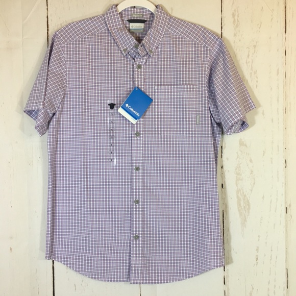 35dac7318da Columbia Shirts | New Purple Plaid Short Sleeve Shirt Small | Poshmark