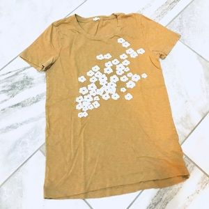 Tops - J Crew Floral Embroidered Tan Shirt Sleeve T-shirt