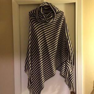 Sweaters - Black and Cream Striped Poncho