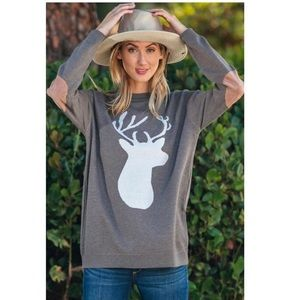 Deer Head Sweater with Suede Elbow Patches