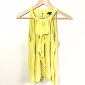 Ann Taylor Yellow 100% Silk Blouse High Neck 8