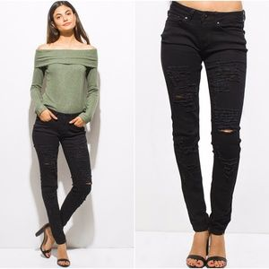 NEW Black Distressed Denim Skinny Jeans
