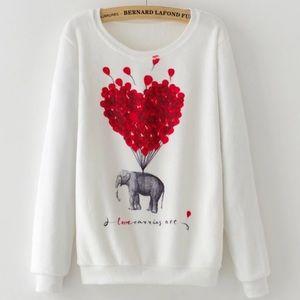 Sweaters - Fleece Pullover Elephant Love Sweatshirt