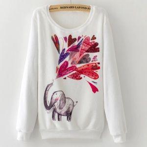 Sweaters - Fleece Pullover Elephant Hearts Sweatshirt
