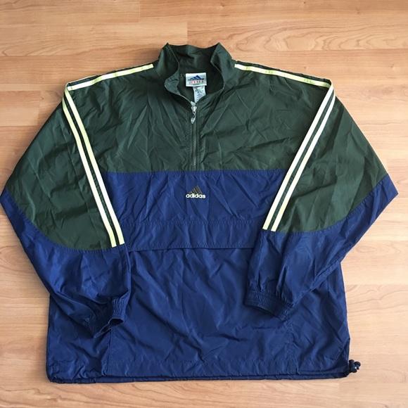 e2a10bfdd2f1 adidas Jackets   Coats   Vintage 12 Zip Pullover Windbreaker   Poshmark
