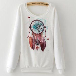 Sweaters - Fleece Pullover Dream Catcher Sweatshirt