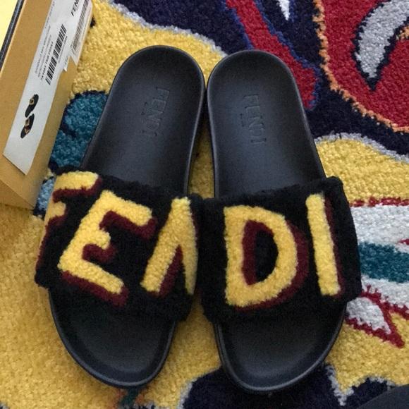 fendi shoes fur shearling designer slides poshmark