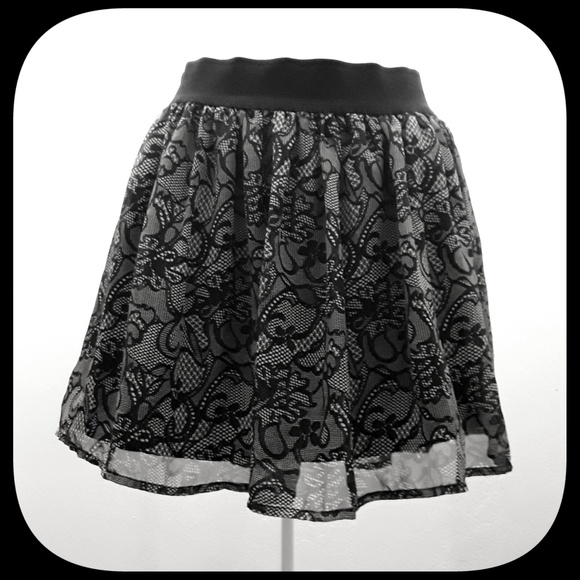 "Charlotte Russe Dresses & Skirts - Black and Gray ""Lace"" Skirt"