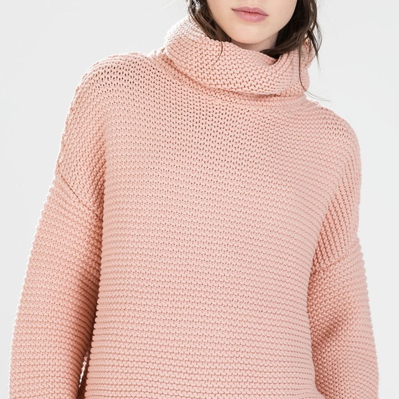2c687d638c9 LAST ONE  ZARA OVERSIZED PEACH TEXTURED SWEATER