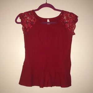 Red Lace Shoulder Peplum Top