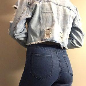 Cropped Destroyed Jean Jacket
