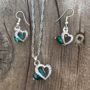 Jewelry - Necklace and earring heart set