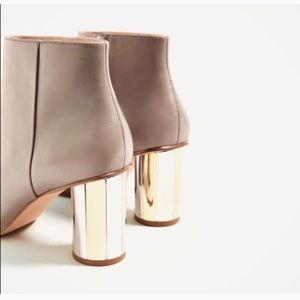 Leather taupe chrome heel ankle booties
