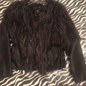 Jackets & Blazers - Faux leather faux fur brimmed jacket