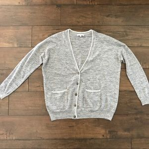 Madewell Linen Blend Sheer Cardigan Sweater