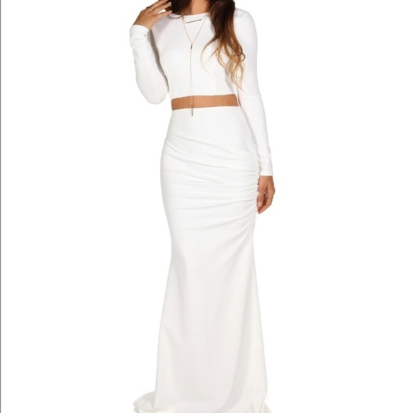 Dresses | All White Two Piece Prom Dress | Poshmark