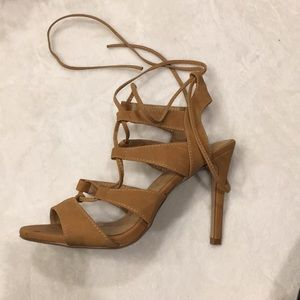 Shoes - Tan lace up heels