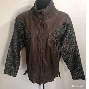 Vintage Jackets & Coats - Vintage 80's leather tweed bomber jacket coat