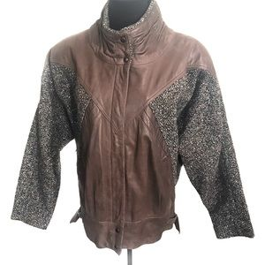 Vintage 80's leather tweed bomber jacket coat