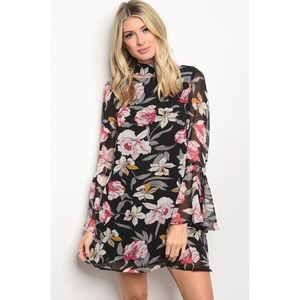Dresses & Skirts - ZARAH BLACK FLORAL DRESS