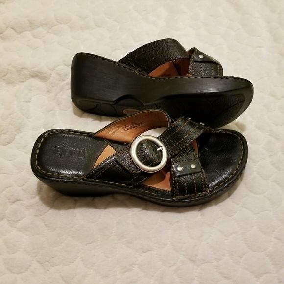 0ca3f116030a54 Born Shoes - Born black slip on criss cross wedge sandal 7