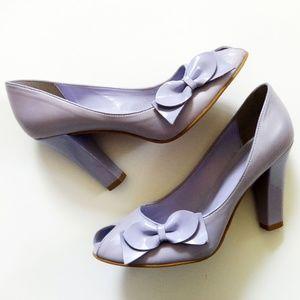 BP Purple Peep Toe Bow Pumps