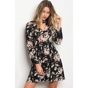 Dresses & Skirts - NATALIA BLACK FLORALS SKATER DRESS