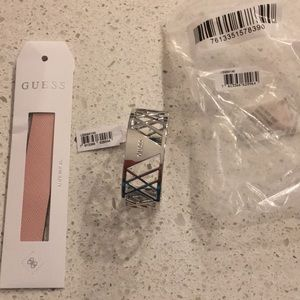 GUESS- NWT- Silver Cuff Bracelet w/ Leather Change