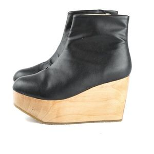 54c0815c2d66 Zara Shoes - Sydney Brown Leather Wood Clog Platform Ankle Boot