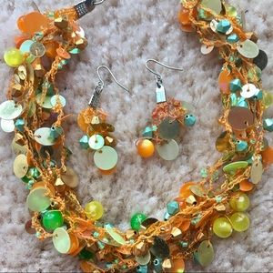 Jewelry - Orange necklace and earrings