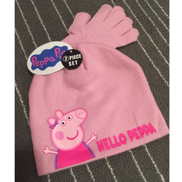 New Peppa Pig Winter Hat   Gloves Pink 30d147f814cb