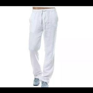 Other - NEW Men's White Linen Drawstring Pants