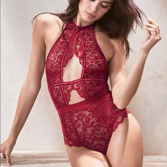 🆑🆕VS Red Cut-Out Lace BodySuit  Teddy 6ab97d766