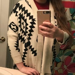Sweaters - Black and white Aztec Cardigan