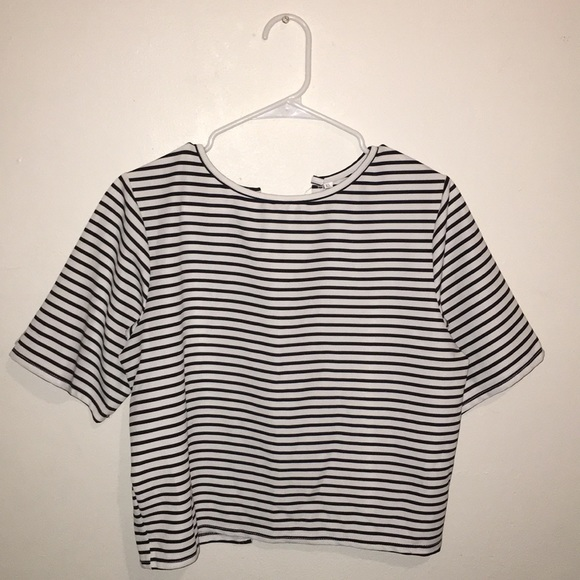 5224a5f159 ROMWE Tops | Black And White Striped Shirt W Bows On The Back | Poshmark
