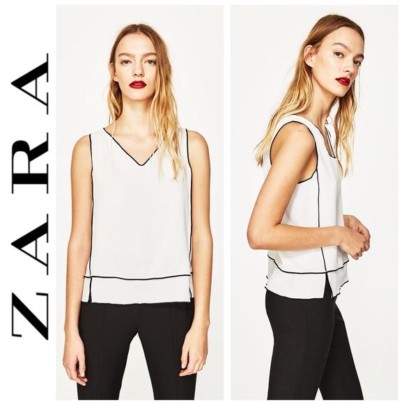 0e91aa74 Zara Tops | White Top With Contrast Trim | Poshmark
