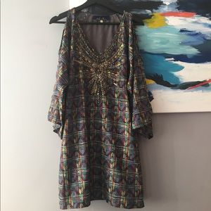 Dresses & Skirts - Multi colored embellished tunic dress.