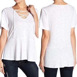 Tops - White Cold Shoulder Lace Up T-Shirt