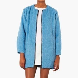 LOWEST PRICE Topshop  Blue Fuzzy Coat 10 Large