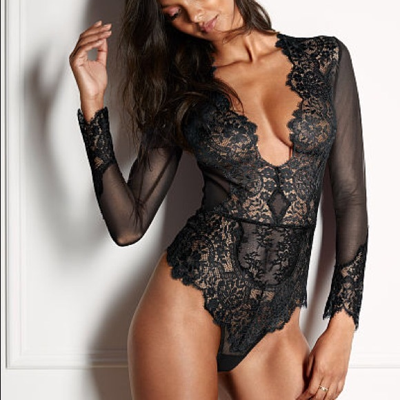 VS Black Lace   Mesh Long Sleeve BodySuit Teddy 18723f4ec