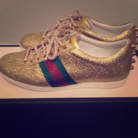3dfbdb6af6f7a Gucci gold glitter sneakers. Authentic. M_5a3201c136d59426ef011d6c. Other  Shoes ...