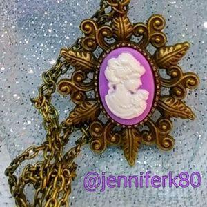 Jewelry - Brand new! Purple Cameo Necklace