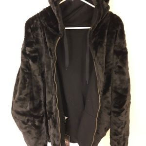 Other - Fur Reversible Hoodie - Black